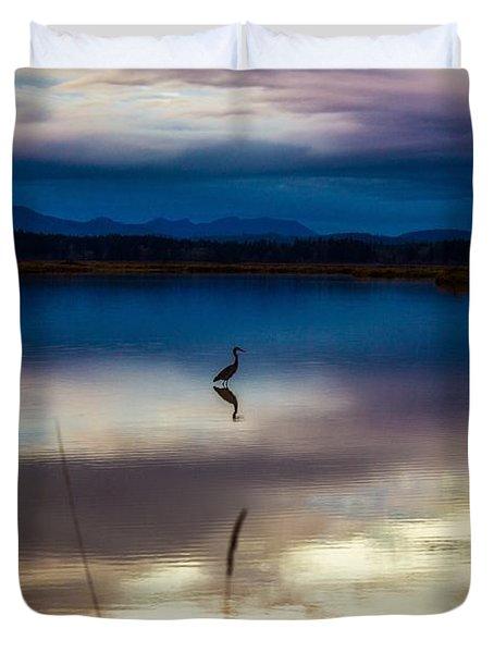 Blue Heron Sun Set Duvet Cover