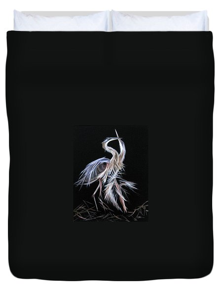 Duvet Cover featuring the painting Blue Herons Mating Dance by LaVonne Hand