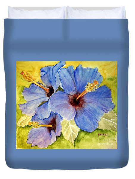 Blue Hibiscus Duvet Cover