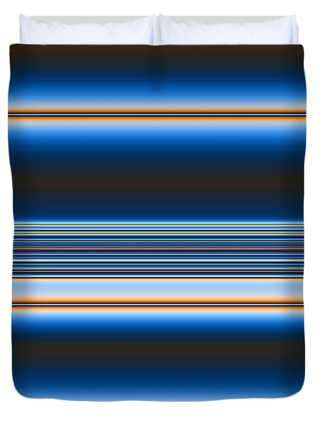 Duvet Cover featuring the digital art Blue Horizons by Joan Hartenstein