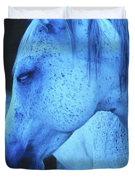 Blue Horse In Field Duvet Cover