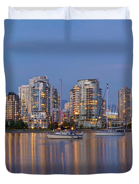 Duvet Cover featuring the photograph Blue Hour At False Creek Vancouver Bc Canada by JPLDesigns