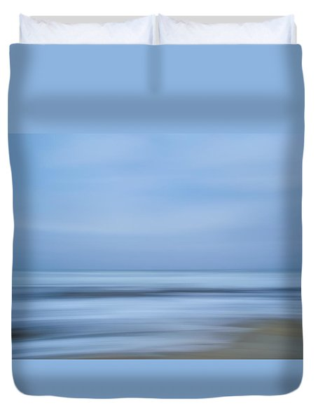 Blue Hour Beach Abstract Duvet Cover by Linda Villers