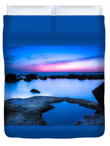 Duvet Cover featuring the photograph Blue Hour by Edgar Laureano