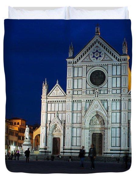 Blue Hour - Santa Croce Church Florence Italy Duvet Cover