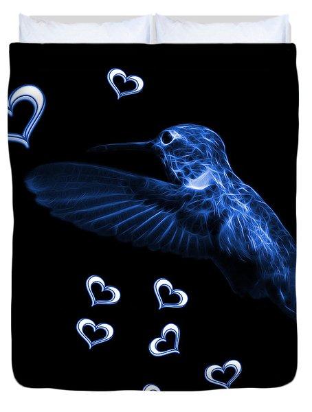 Blue Hummingbird - 2055 F M Duvet Cover
