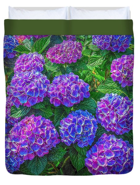 Blue Hydrangea Duvet Cover by Hanny Heim