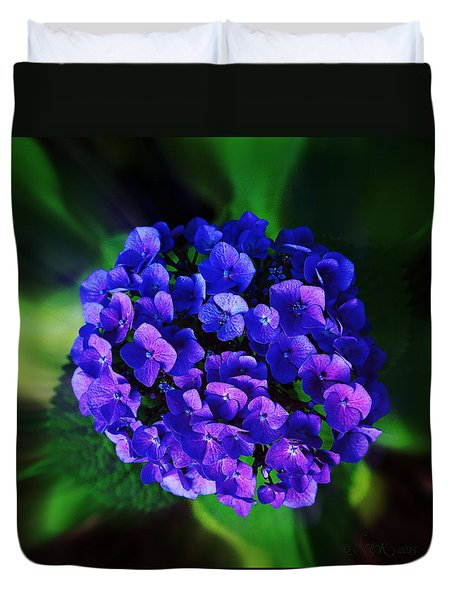 Duvet Cover featuring the photograph Blue Hydrangea by Nick Kloepping
