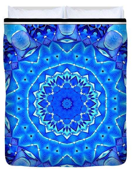 Blue Hydrangeas Flower Kaleidoscope Duvet Cover by Rose Santuci-Sofranko
