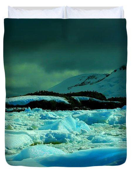 Duvet Cover featuring the photograph Blue Ice Flow by Amanda Stadther