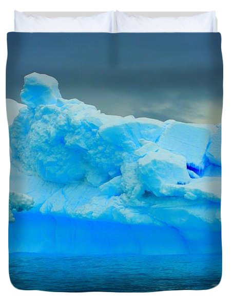 Duvet Cover featuring the photograph Blue Icebergs by Amanda Stadther