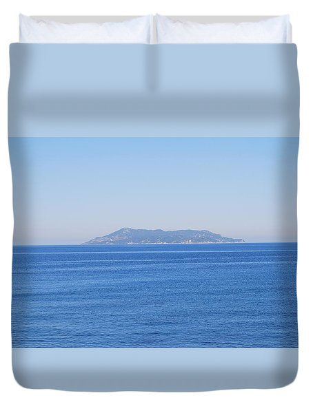 Duvet Cover featuring the photograph Blue Ionian Sea by George Katechis