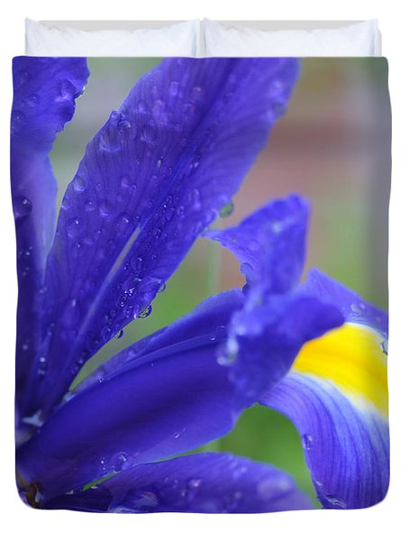 Duvet Cover featuring the photograph Blue Iris by Haleh Mahbod