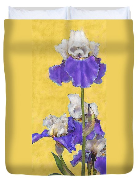 Duvet Cover featuring the digital art Blue Iris On Gold by Jane Schnetlage