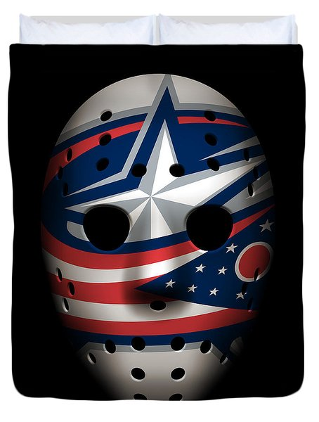 Blue Jackets Goalie Mask Duvet Cover