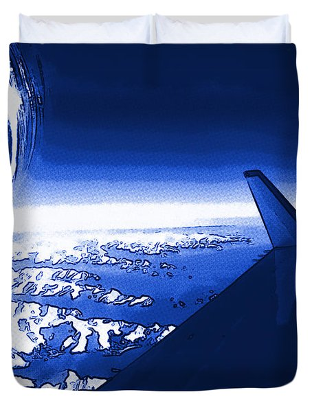 Blue Jet Pop Art Plane Duvet Cover