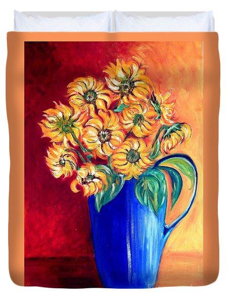 Blue Jug Yellow Flowers Duvet Cover by Caroline Street