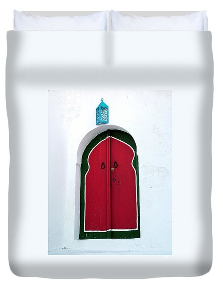 Blue Lantern Over Red Door Duvet Cover