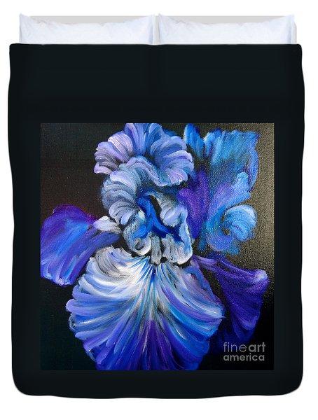 Blue/lavender Iris Duvet Cover by Jenny Lee