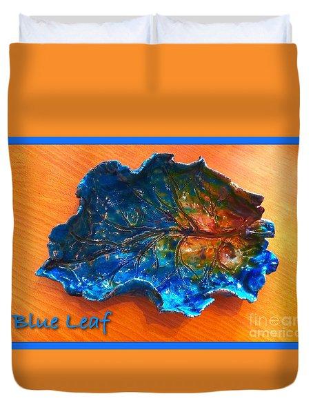 Blue Leaf Ceramic Design 3 Duvet Cover by Joan-Violet Stretch