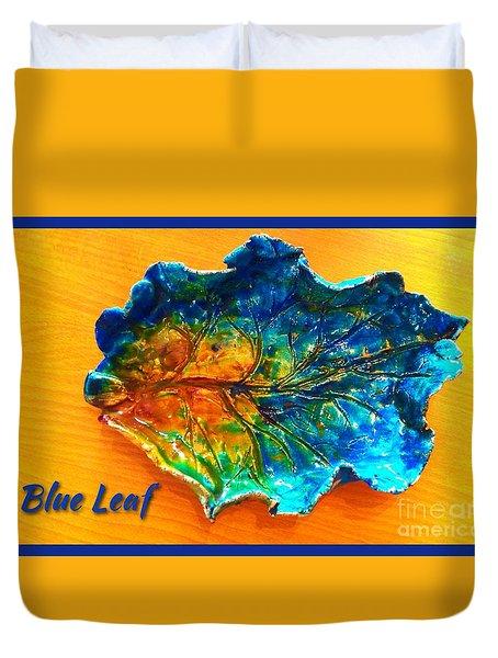 Blue Leaf Ceramic Design Duvet Cover by Joan-Violet Stretch