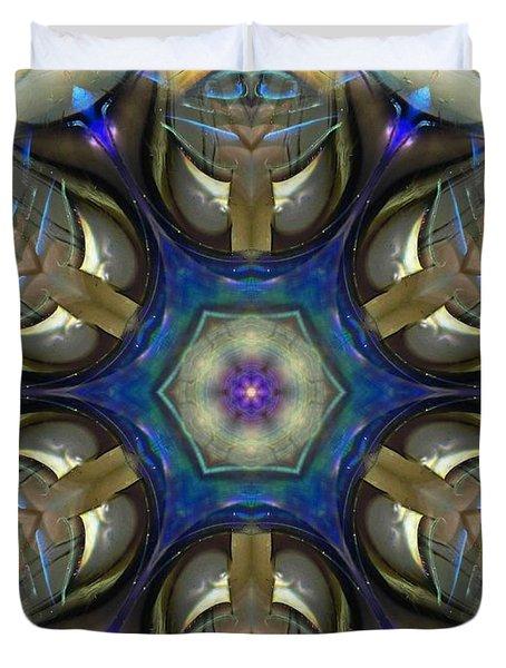 Blue Light Angel Mandala Duvet Cover