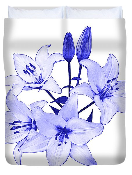 Duvet Cover featuring the photograph Blue Lily by Jane McIlroy