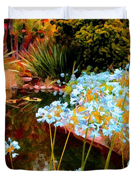 Blue Lily Water Garden Duvet Cover
