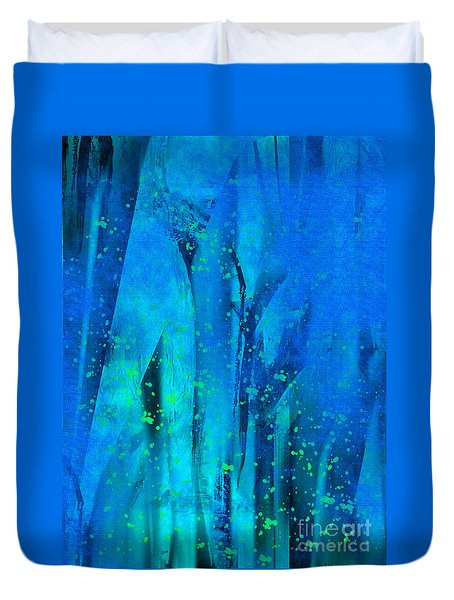 Duvet Cover featuring the painting Feeling Blue by Yul Olaivar