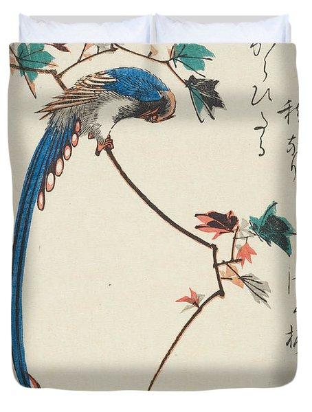 Blue Magpie On Maple Branch Duvet Cover