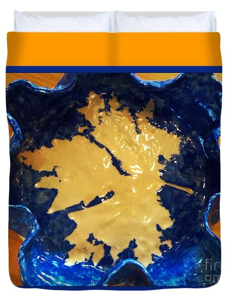 Blue Maple Leaf Dish Duvet Cover by Joan-Violet Stretch