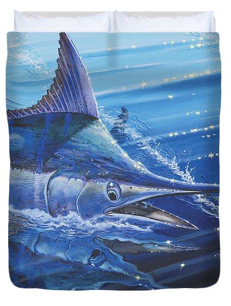 Blue Marlin Strike Off0053 Duvet Cover by Carey Chen