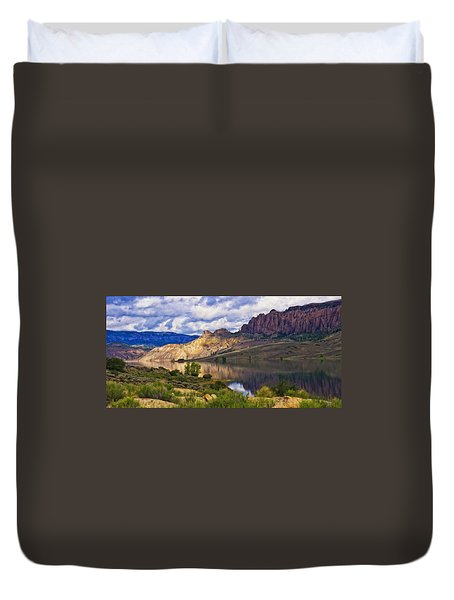 Blue Mesa Reservoir Digital Painting Duvet Cover