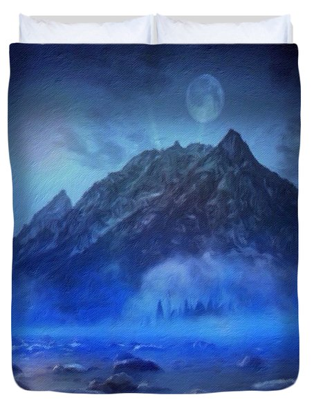 Blue Mist Rising Duvet Cover