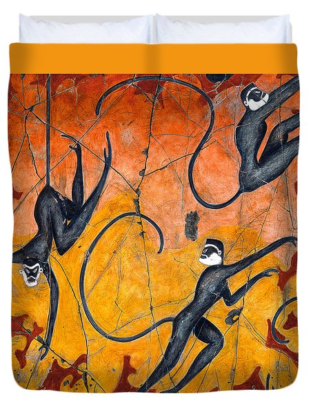 Blue Monkeys No. 9 - Study No. 4 Duvet Cover