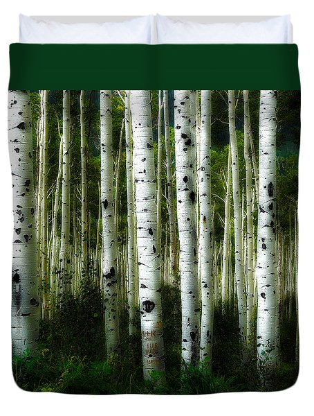 Duvet Cover featuring the photograph Blue Mood Aspens I by Lanita Williams