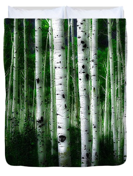 Duvet Cover featuring the photograph Blue Mood Aspens II by Lanita Williams