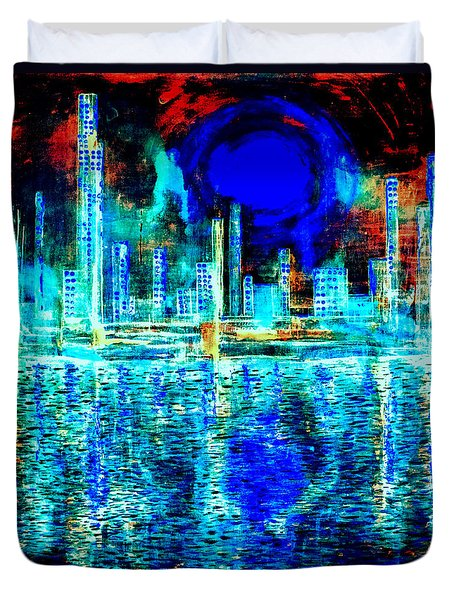 Blue Moon In A Midnight Sky Duvet Cover