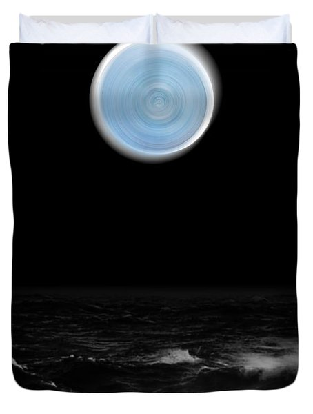 Blue Moon Over The Sea Duvet Cover