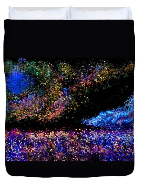 Duvet Cover featuring the painting Blue Moon by Paula Ayers