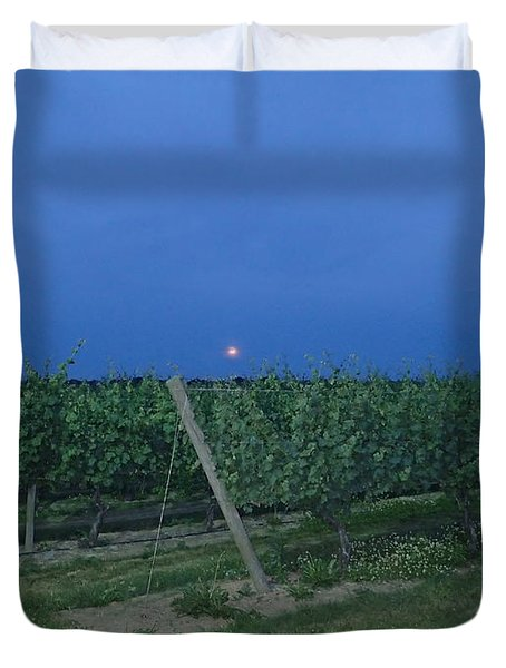 Duvet Cover featuring the photograph Blue Moon by Robert Nickologianis