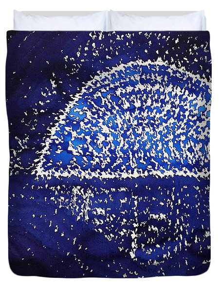 Blue Moonrise Original Painting Duvet Cover by Sol Luckman