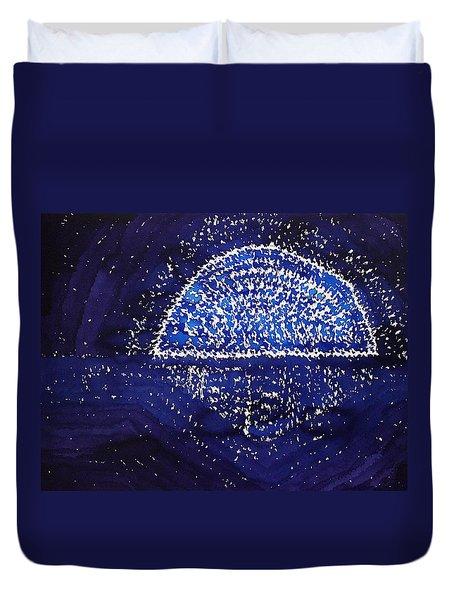 Blue Moonrise Original Painting Duvet Cover
