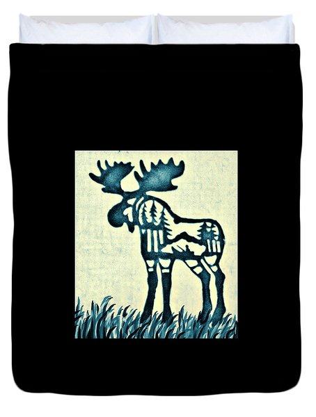 Blue Moose Duvet Cover by Larry Campbell