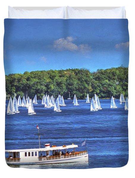 Blue Morning Cruise - Lake Geneva Wisconsin Duvet Cover