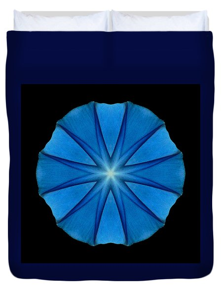 Blue Morning Glory Flower Mandala Duvet Cover