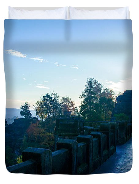 Blue Morning On The Bastei Duvet Cover