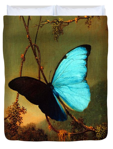 Blue Morpho Butterfly Duvet Cover