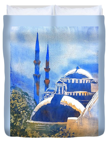 Blue Mosque In Blues Duvet Cover