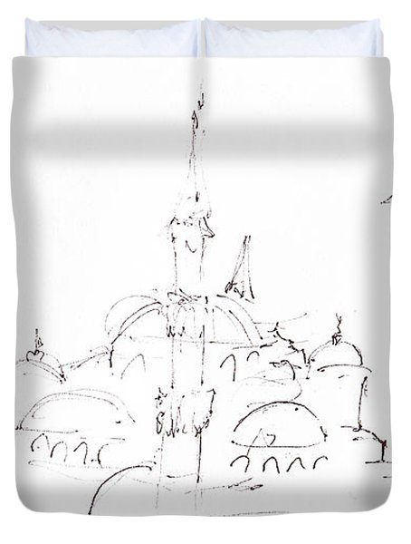 Blue Mosque Duvet Cover by Valerie Freeman